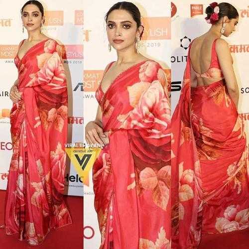 Red Chinnon Floral Saree