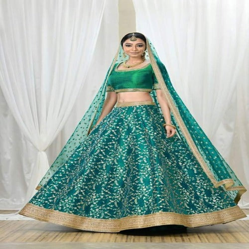 Turquoise Green Silk Heavy Embroidered Lehnga