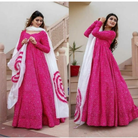 Pink-White Georgette Gown