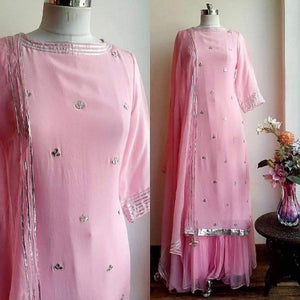 Pink Georgette Mirror Work Sharara Set