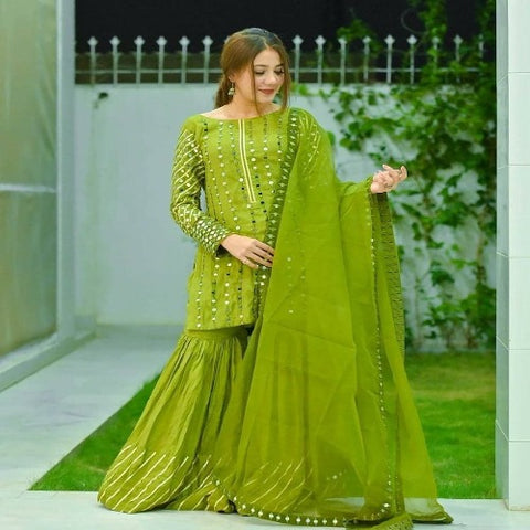 Green Georgette Mirror Work Sharara Suit