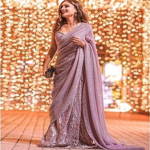 Mauve Georgette-Satin Heavy Sequence Saree