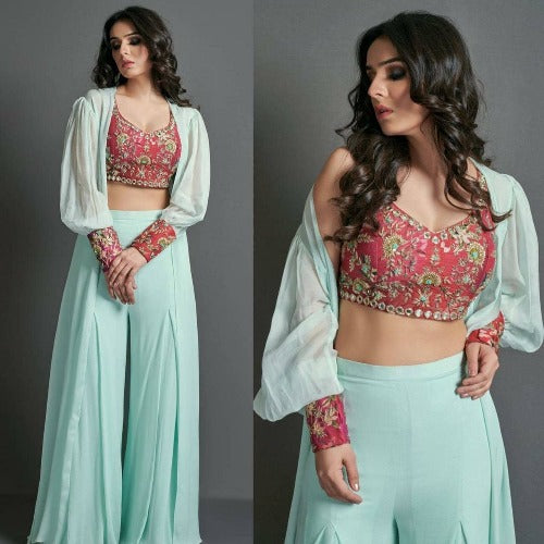 SkyBlue Georgette-Tapeta Koti Plazo Dress