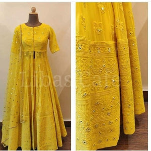 Yellow Georgette Embroidered Indo Western