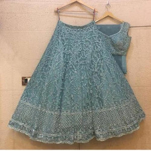 LightSteel Blue Tissue Net Embro Lehnga