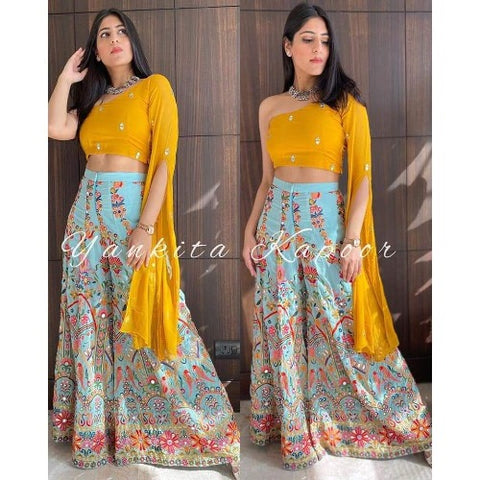 Blue-Yellow Georgette Silk Plazo Set
