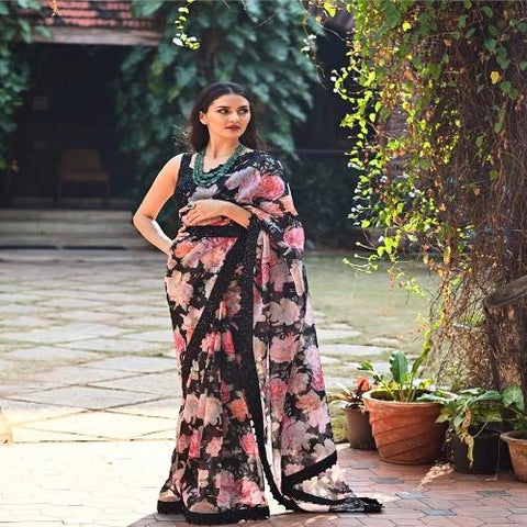 Black Georgette Floral Sequins Saree