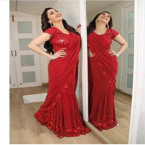 Red Georgette Embroidered Ruffle Saree