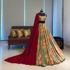 Beautiful Tapeta Silk Floral Lehnga