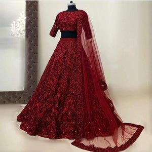 Tapetta Silk-Net Embroidered Lehnga