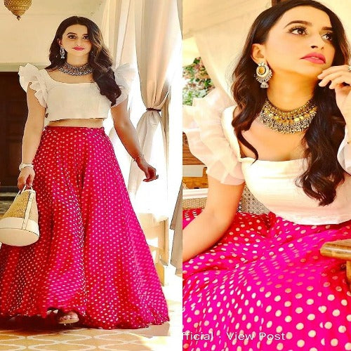 Pink-White Moss Georgette Lehnga