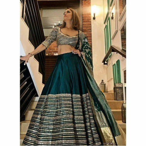 DarkGreen Silk Zari Printed Lehnga