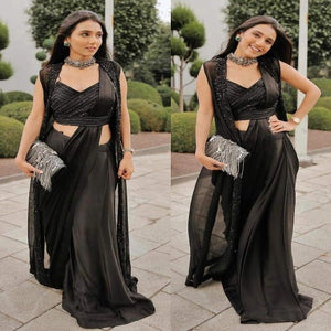 Black Satin Embro Koti Style Saree