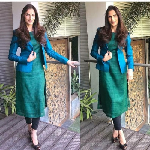Green-Blue Cotton Jacket Style Suit