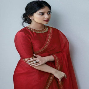 Red Organza-Silk Embro Saree