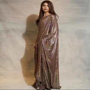 Brown Georgette Sequence Work Saree