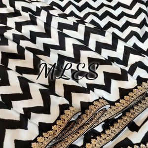 Black-White Satin Georgette Printed Saree
