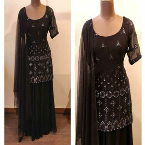 Black Georgette Mirror Plazo Suit
