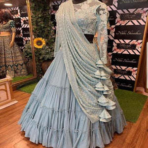 LightBlue Georgette Ruflle Embro Lehnga