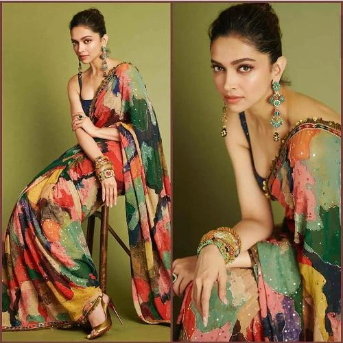 Deepika Style Georgette Multi Color Saree