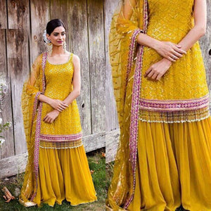 Yellow Heavy Georgette Embro Sharara Set