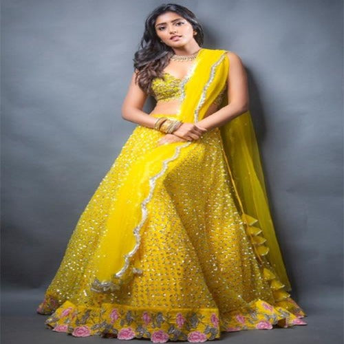 Yellow Cancan Attached Designer Net Lehnga