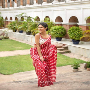 Red-White Soft Silk Printed Saree