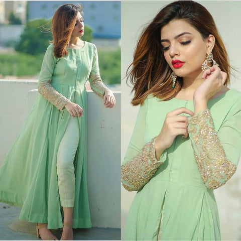 PistaGreen Georgette Front Slit Dress