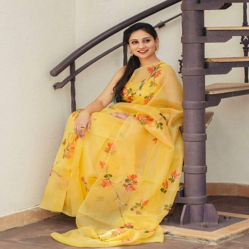 Yellow Organza Printed Pearl Work Saree
