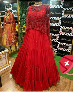Red Georgette Embroidered Cape Gown