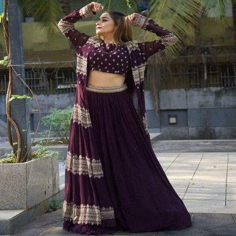 Purple Georgette Embroidered Indo Set