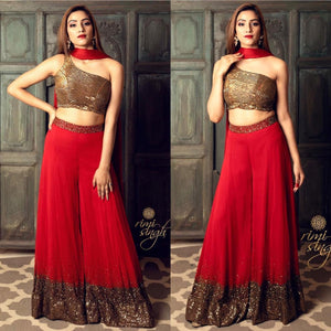 Red Georgette Sequins work Plazo IndoSet