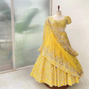 LimeYellow Banglore Silk Embroidered Lehnga