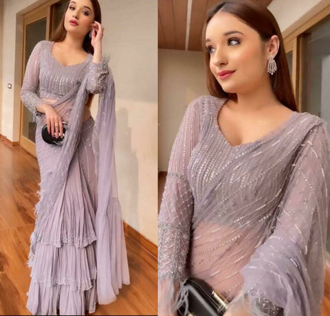 LightMauve Georgette Embro Ruffle Saree