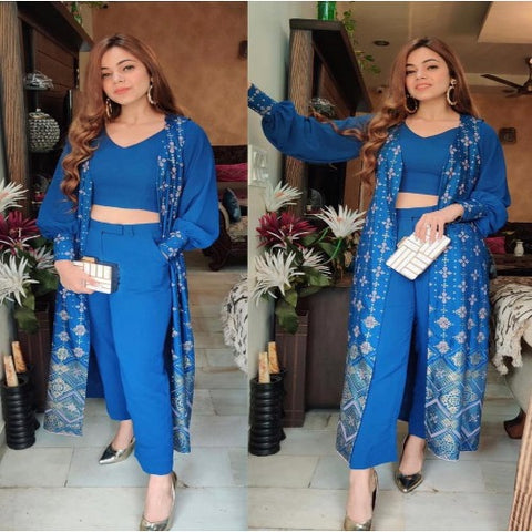 Blue TapetaSilk Printed Koti Indo set