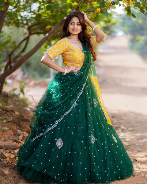 Green-Yellow Net Ruffle Embro CanCan Lehnga