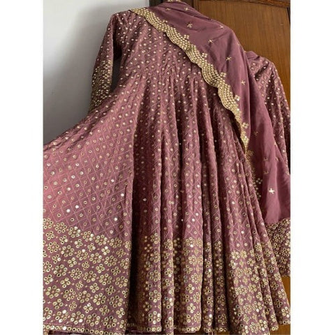 OldRose Georgette Embroidered Mirror Work Anarkali
