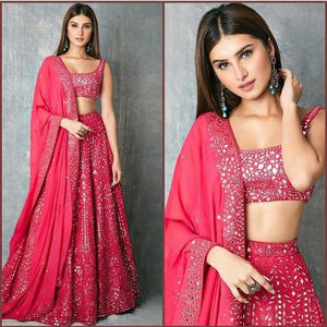 DeepPink Georgette Paper Mirror Work Lehnga