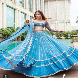 LightBlue Georgette-Net Embroidered Ruffle Lehnga