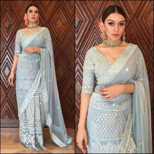 PowderBlue Georgette Mirror Work Saree