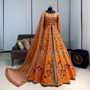 Orange-Beige Taffeta Embro Indo Set