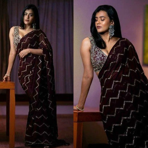 Wine Georgette-Silk Sequence Work Saree