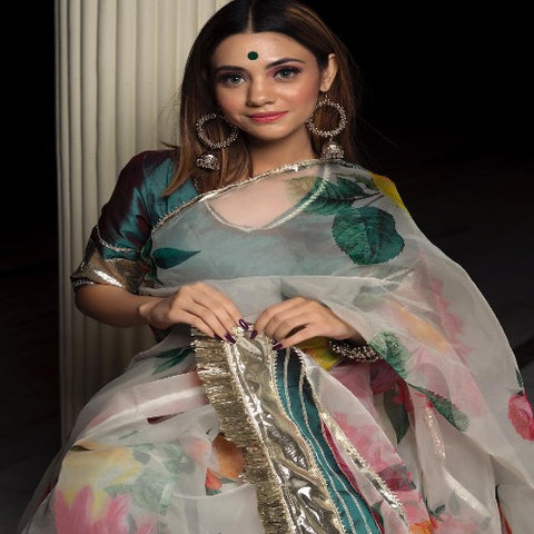 White-Green Organza Floral Gotta Patti Saree