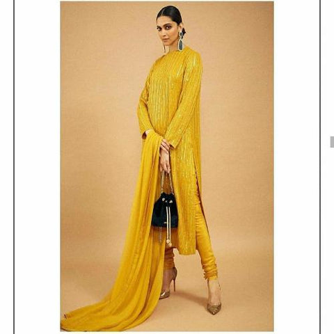 Yellow Georgette Sequence Work Suit