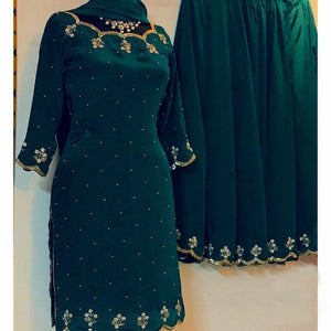 DarkGreen Georgette Embro Outfit