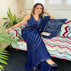 Blue Georgette-Silk Embro Saree