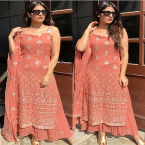 Peach Georgette Foil Mirror Plazo Suit