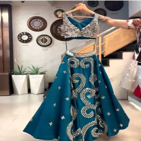 TealBlue Tafetta-Net Mirror Work Lehnga