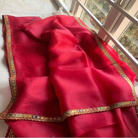 DarkPink Organza Border work Saree