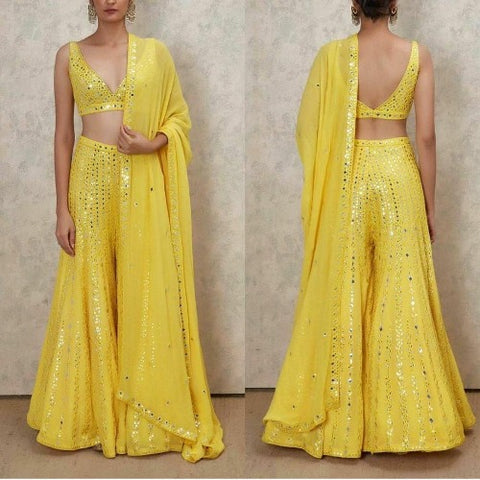 Yellow Georgette Foil Work Sharara Suit